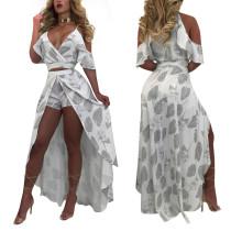 Leaf Print Bare Ruffle Shoulder Wrap Top and Slit Skirt 25046-1