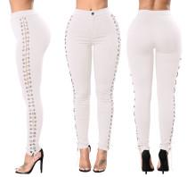 Lace Up Side Hollow Out pantalones de cintura alta blancos 25029-2