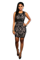 Black Floral Lace Overall Sleeveless Party Dress 25032