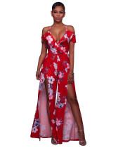 Floral Red V-neck Bare Shoulder Slit Dress 24963