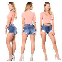 Pantalones cortos de mezclilla de cintura baja de verano rasgados 24629