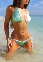 Сексуальные зеленые и белые блестки Комплект для бикини 24625-2