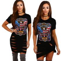Aushöhlen Sexy Print Tall Shirts 24680