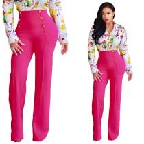 Pantalones de cintura alta estilo oficina con botones 24745-2