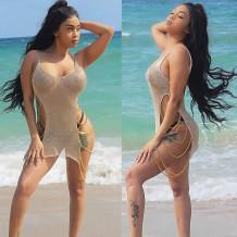 Mulheres Cintas De Crochê Beach Cover Up 24727