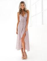 Vestido informal de lunares con cuello en V de verano 25092-2