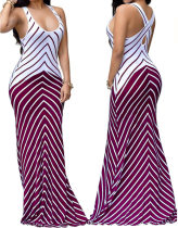 Summer Stripes Back Cross Tank Maxi Dress 24988-2
