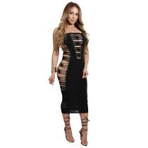 Plain Color Cutout Design Strapless Dress 25031-1