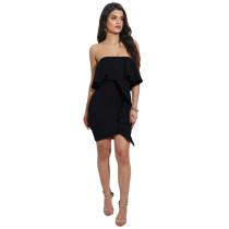 Stylish Black Ruffle Strapless Slim Dress 25010-1