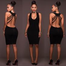 Elegante vestito aderente con collo a U nero dietro 24814