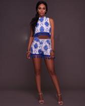 Shorts de cintura alta y borde corto con borde azul 24870-1