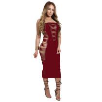 Plain Color Cutout Design Strapless Dress 25031-4