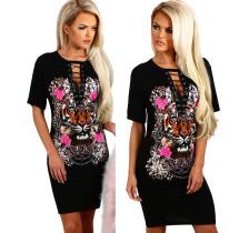Lace-Up Sexy Print Große Hemden 24681