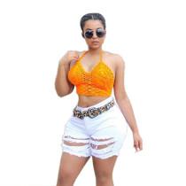 Pantalones cortos vaqueros pitillo desgastados y con estilo blanco 25350-2