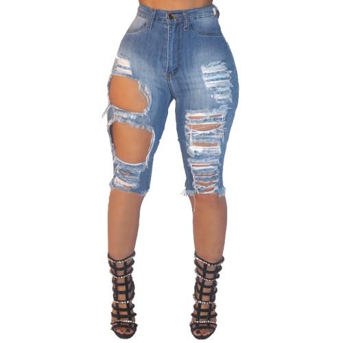 Light Blue Ripped Holes Tassel Slim Denim Shorts 25182