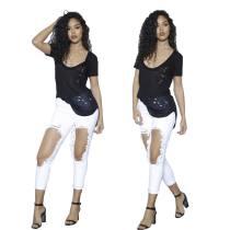 Pantalones vaqueros desgastados con orificios grandes de Pure White 25443