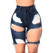 Pantalones cortos de mezclilla con agujeros rasgados de cintura alta de color azul oscuro 25185