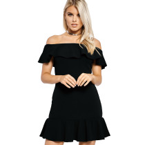 Plain Color Ruffle Off Shoulder Mini Dress 25249-1