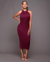 Elegantes, ärmelloses, figurbetontes Kleid mit seitlicher Schnürung 25255-1