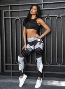 Listras Cinza Imprimir Leggings de Fitness em Execução 25474-1