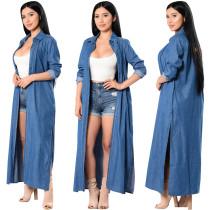 Trendy Denim Blue Slim Long Trench Coat  25159