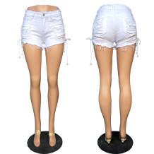 Lado branco elegante Lace-up Designs rasgado Denim Shorts 24704-2