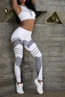 Listras Cinzentas Imprimem Leggings Corredores de Fitness em Branco 25474-2