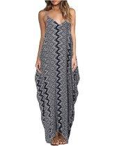 Strappy Casual Loose Vintage Boho vestido largo largo 25129