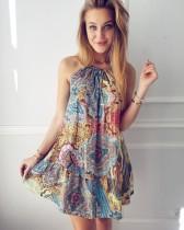 Boho Çiçekli Strappy Mini Günlük Elbise 25392