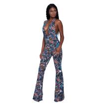 Rückenfreier Jumpsuit mit V-Ausschnitt und Boho-Print 25112-3