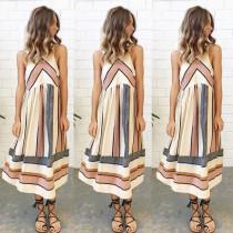 Yaz Modası Kolsuz Çizgili Bej Günlük Elbise 25391