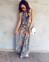 Boho Çiçekli Kolsuz Strappy Günlük Elbise 25393