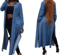 Langarm Denim Slit Long Coat 26082