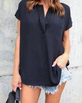 Camisa casual de gasa de manga corta suelta Lady 25907-1