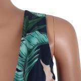 Maxi vestito con fodera alta con stampa foglia posteriore 25765-2