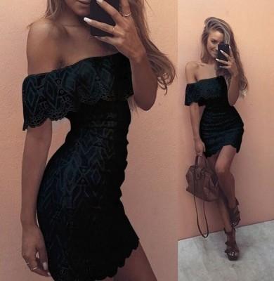 Vestido de verano de encaje sexy negro con hombros descubiertos 25660-1