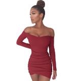 Saf Renk Kapalı Omuz Uzun Kollu Fold Bodycon Elbise 25593-4