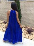 Abito strappy in chiffon con pieghe blu royal 25691-2