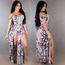 Schulterfreies Maxi-Kleid mit Schlitz 25902