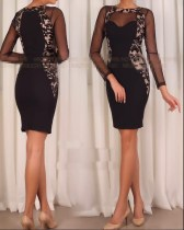 Elegant Black Mesh Patchwork Bodycon Dress 25722