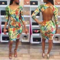 Renkli Baskı Aç Geri Yarım Kol Bodycon Elbise 25914