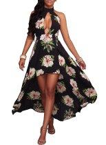 Haltertop met bloemenmotief Rugvrije onregelmatige jurk 25778-1