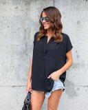 Camicia casual in chiffon a maniche corte da donna 25907-1