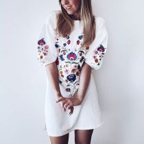 Boho Floral Puff Sleeve Casual Dress 26094