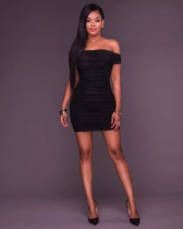 Sexy Solid Off the Shoulder Ruched Bodycon Dress 25769-1
