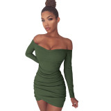 Saf Renk Kapalı Omuz Uzun Kollu Fold Bodycon Elbise 25593-3