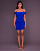 Sexy Solid Off the Shoulder Ruched Bodycon Dress 25769-2