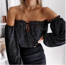 Dark Gray Off the Shoulder Crop Top with Puff Sleeve 26122