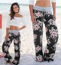 Calças de cintura de cintura baixa com cordão floral 26032-1