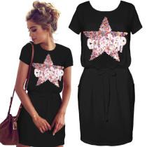 Pailletten Star Drawstring Taille Lässiges Kleid 25829-1